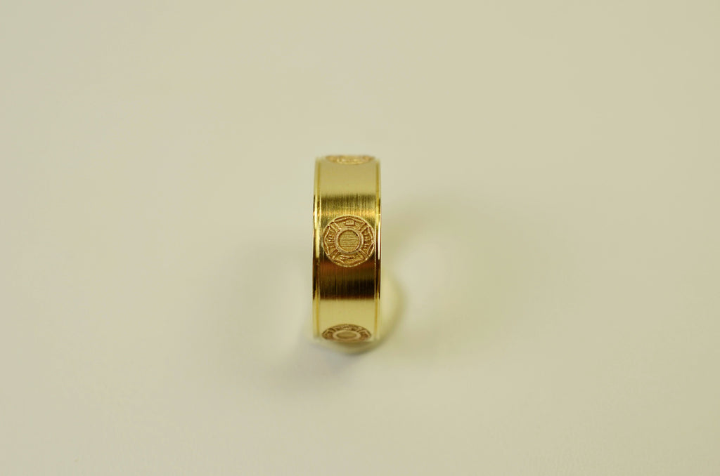 14K Yellow Gold Firefighter Maltese Cross Ring