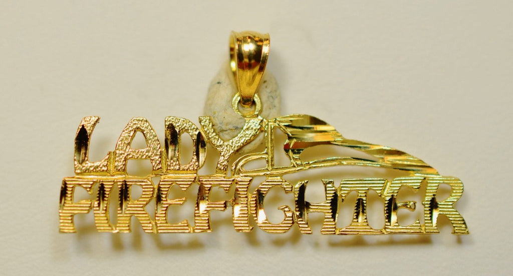 14K Yellow Gold Lady Firefighter <br>1523</br>