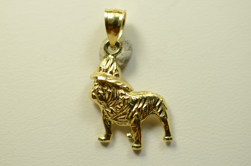 14K Yellow Gold Bulldog with Hat <br>1530</br>