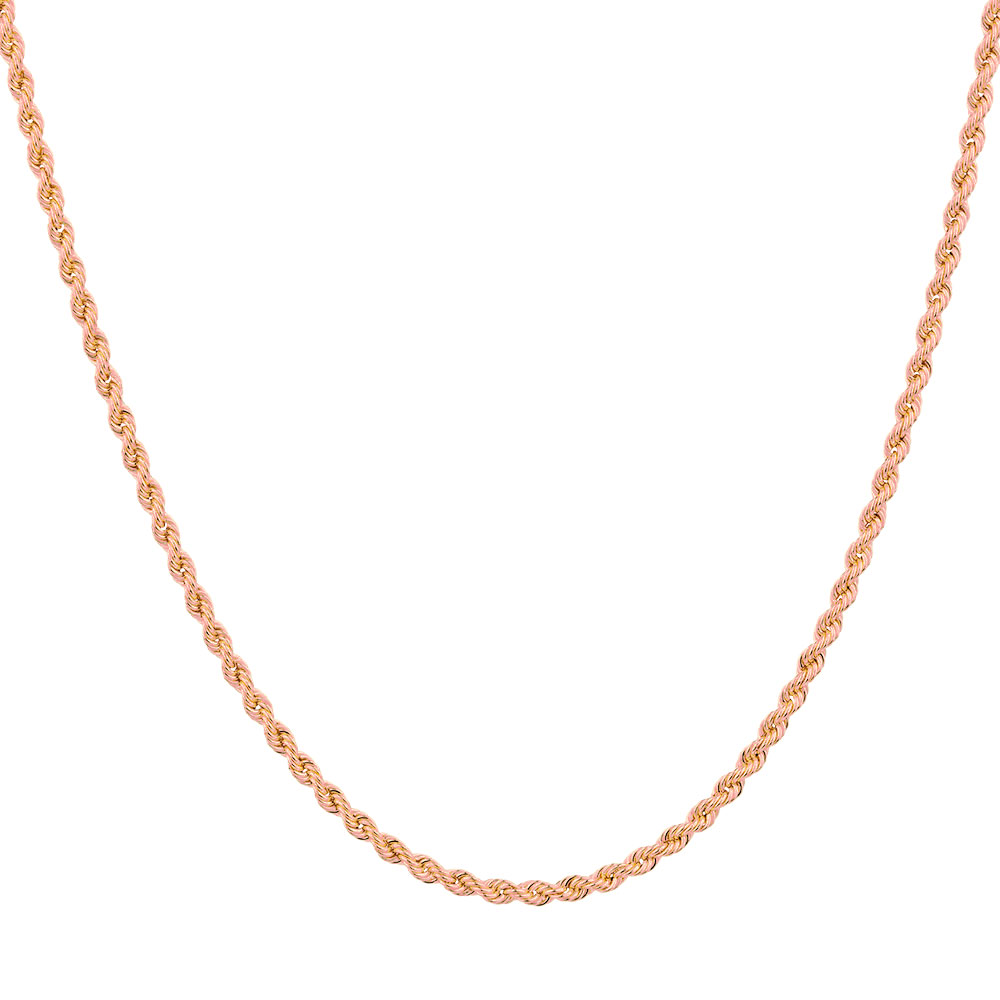 14K Rose Gold Diamond Cut Rope Chains