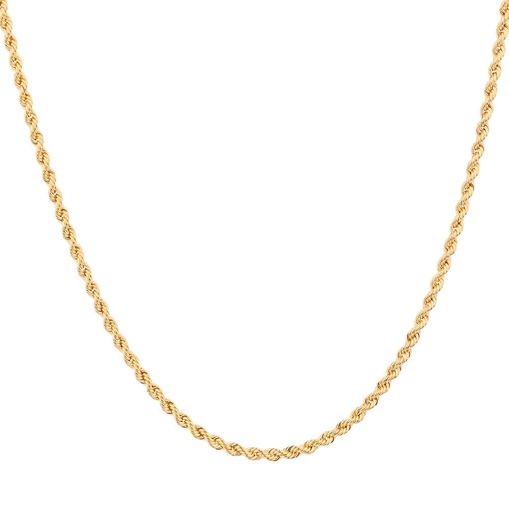 14K Yellow Gold Diamond Cut Rope Chains