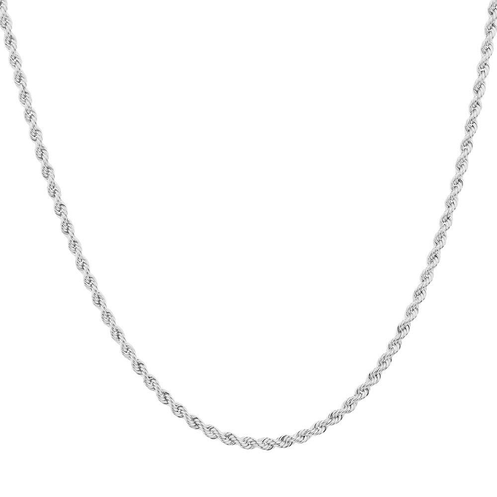 14K White Gold Diamond Cut Rope Chains