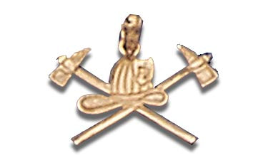 14K Yellow Gold Crossed Axes and Helmet Charm