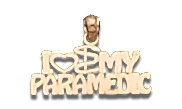 14K Yellow Gold I Heart My Paramedic Talking Charm