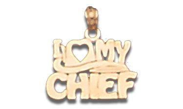 14K Yellow Gold I Heart My Chief Talking Charm