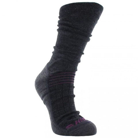 LADIES HI-TEC ALTITUDE TREK MERINO WOOL GREY/PURPLE HIKING SOCKS 3 PACK