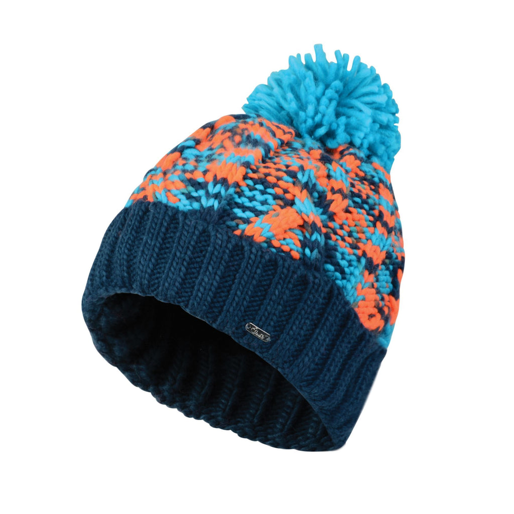 WOMEN'S RISOL BOBBLE BEANIE HAT AQUA BLUE VIBRANT ORANGE