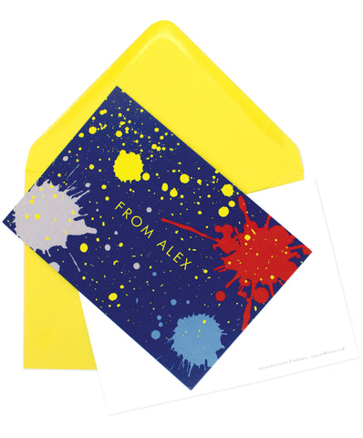 A6 Personalised Ink Splatter Postcard Pack - Blue