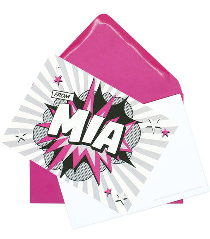 A6 Comic Hero Personalised Postcard Pack - Hot Pink