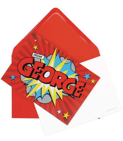 A6 Comic Hero Personalised Postcard Pack - Red