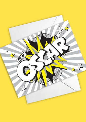A6 Comic Hero Personalised Postcards - Monochrome & Yellow