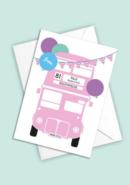 A6 Personalised London Bus Postcards - Pink