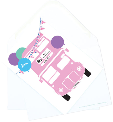 A6 Personalised London Bus Postcard Pack - Pink