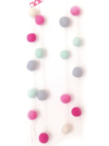 Pom Pom bunting - pinks, aqua, white & grey