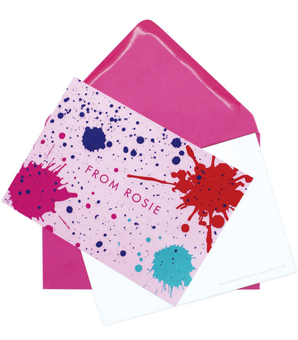 A6 Personalised Ink Splatter Postcard Pack - Pink