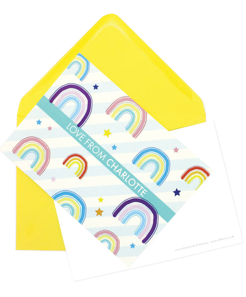 A6 Personalised Rainbow Postcard Pack