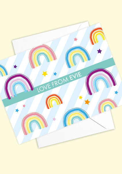 A6 Personalised Rainbow postcards
