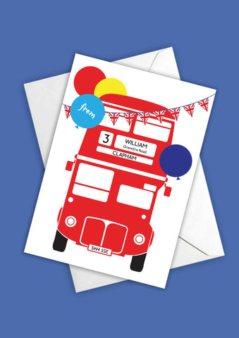 A6 Personalised London Bus Postcards - Red