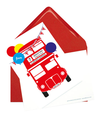 A6 Personalised London Bus Postcard Pack - Red