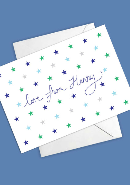 A6 Personalised Star Postcards - Blue