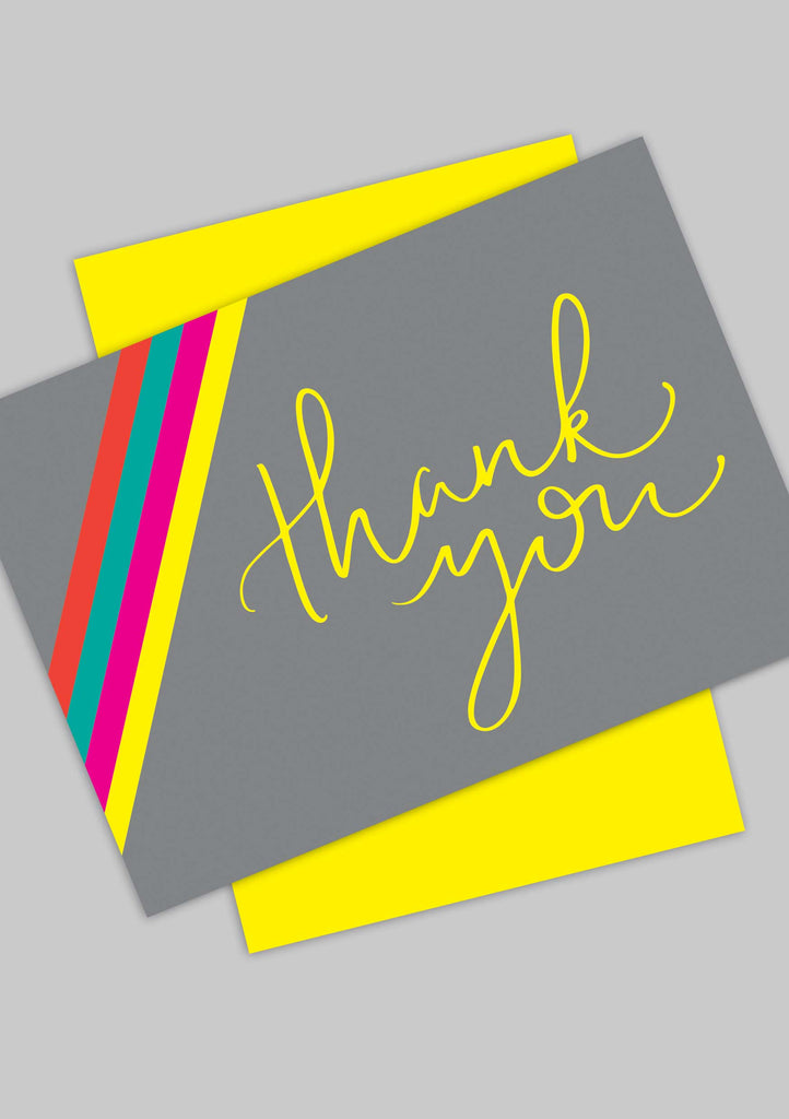 A6 Bright Stripe 'Thank You' postcards