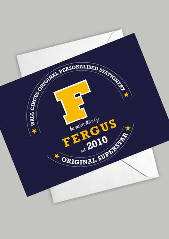 A6 Varsity Personalised Postcards - Navy & Yellow