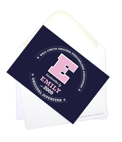 A6 Varsity Personalised Postcard Pack - Navy & Pink