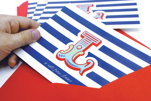 A6 Circus Monogram Personalised Postcard Pack - Blue & Red