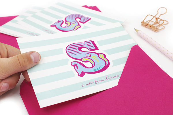 A6 Circus Monogram Personalised Postcard Pack - Pink & Mint