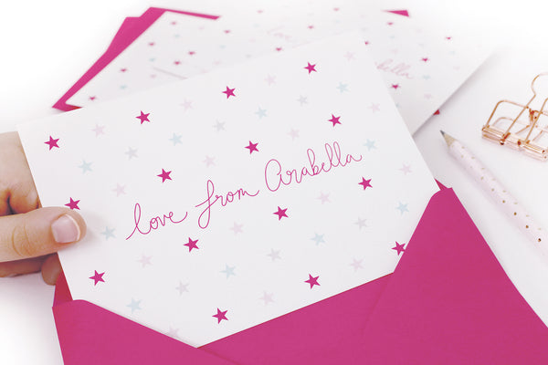 A6 Personalised Star Postcard Pack - Pink