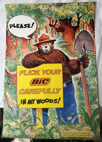 1978 Obscene Smokey Bear Bic Pen Advertising Original Gov Poster Pulled Service