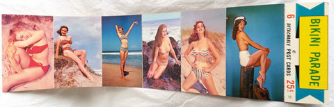Vintage Detachable Strand of 6 Bikini Girlie Post Cards1960's New NOS Man Cave - Cabin Fever Purveyors