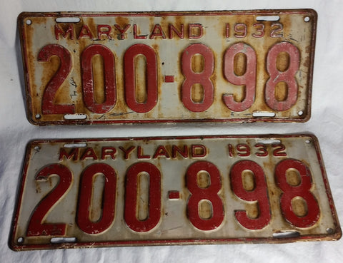 Antique 1932 Maryland Matched Set Pair License Plates 200-898 - Cabin Fever Purveyors