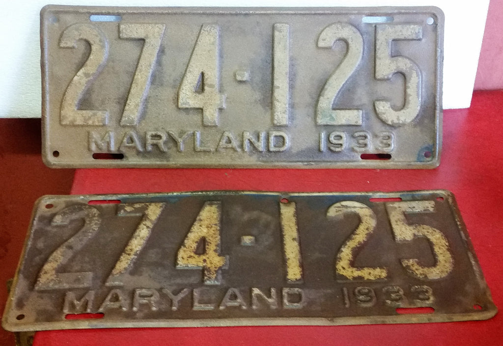 Antique 1933 Maryland Matched Set Pair License Plates 274-125 - Cabin Fever Purveyors