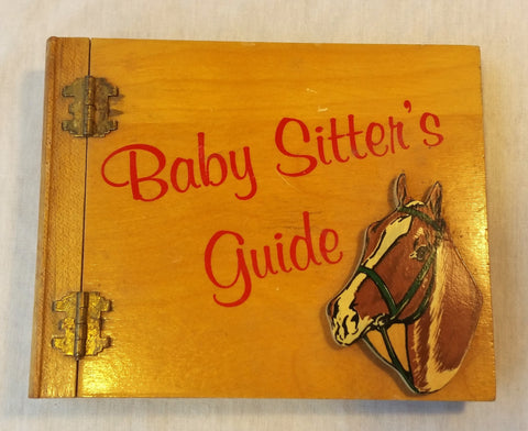 VTG Wood Hinged Flaps Notebook Baby Sitter's Guide Horse Cutout Folk Art Holder