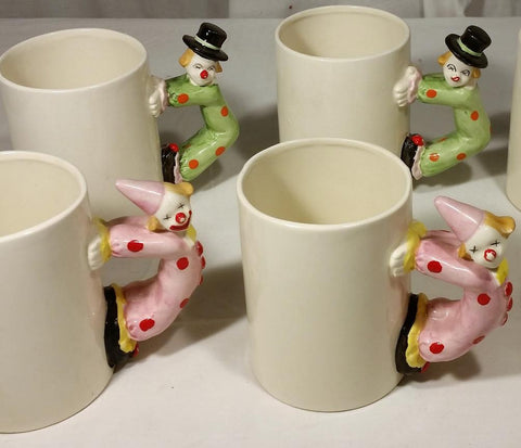Vintage Set of 4 Ron Gordon Designs Japan Clown Handles Coffee Mugs Cups