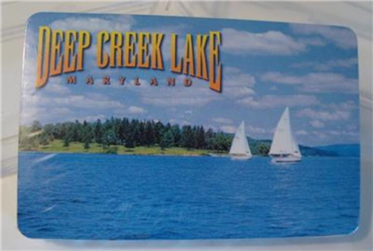 VTG NOS Deep Creek Lake Maryland MD Playing Cards MIB Old Store Stock Sailboat - Cabin Fever Purveyors