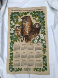 Vtg 1978 Calendar Tea Towel Unused Linen Owls Prov 9:10 Fear of the Lord Wisdom