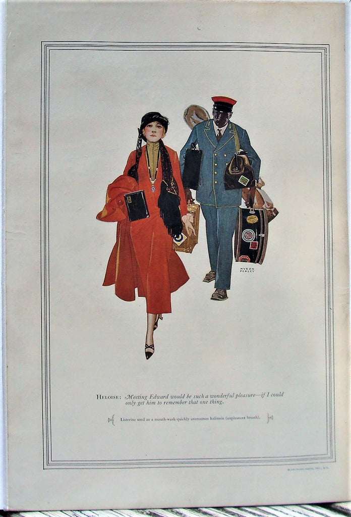 1925 Listerine Rich Woman Black Porter Carrying Luggage Myron Perley Print Ad