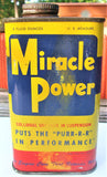 Vintage 8 oz Metal Miracle Power Motor Protection Tin Advertising Can Colorful