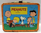 VTG George Schulz Peanuts Metal Lunchbox Snoopy WW 1 Pilot Lucy Baseball & Kite