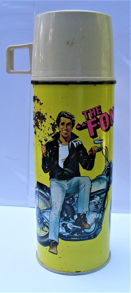 "Vintage 9 1/2"" Tall The Fonz Yellow Thermos AAAAAY....!"