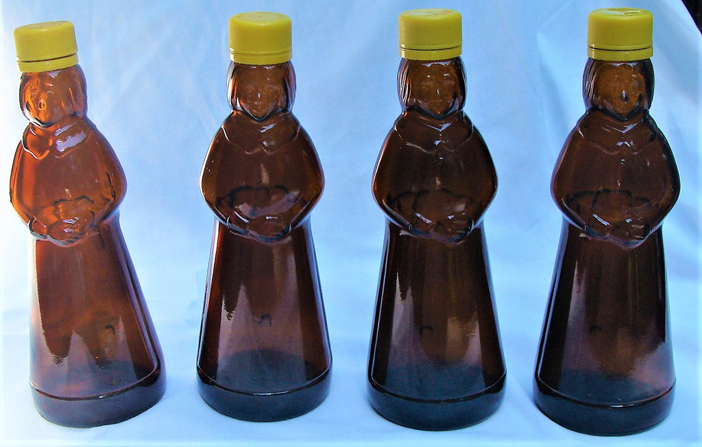 "4 VTG Mrs Butterworth's Amber Brown Glass Syrup Bottles 12 oz 8 1/2"" Tall w/Tops"