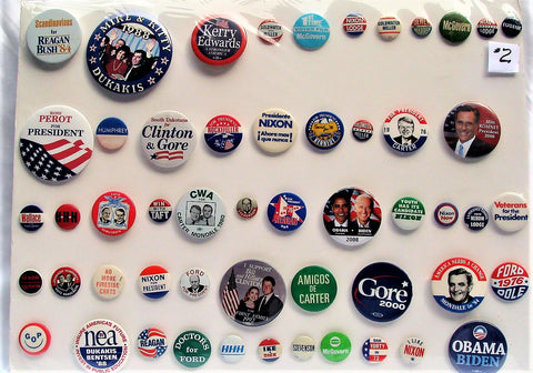 Vtg Presidental 1950s-2000s 53 Political Buttons Pinbacks Shrink Mounted #2