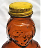 "10"" Tall 24 oz Mrs Butterworths Glass Syrup Amber Brown Bottle Metal Cap & Label"