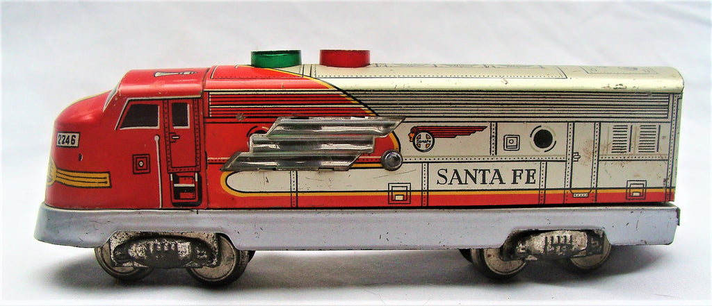 Vintage Tin Trade Mark TN Santa Fe Train Engine Locomotive Made in Japan VG Cond