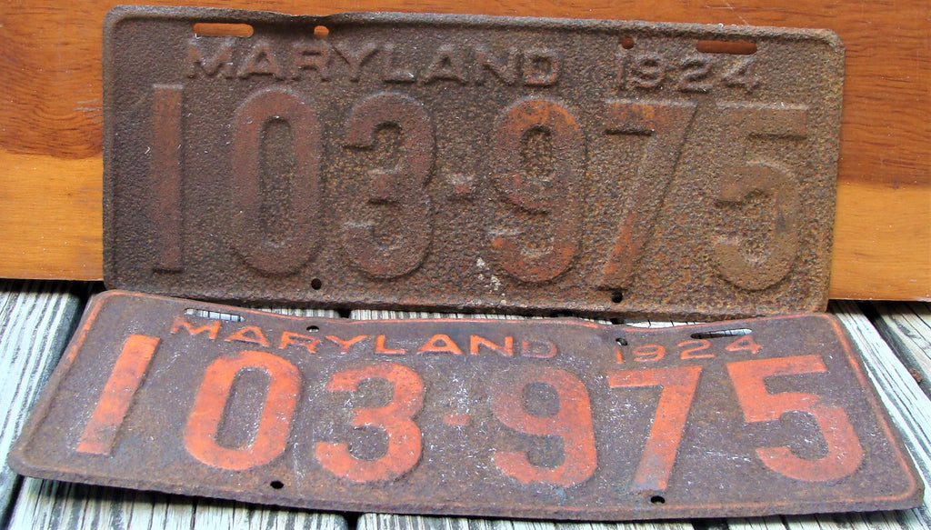 Antique Matched Set 1924 Maryland License Plates Set MD 103-975 Pair