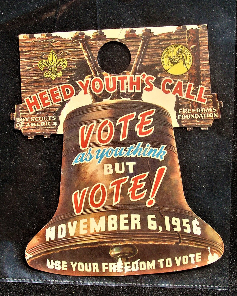 Vtg 1956 BSA VOTE Door Hanger Liberty Bell Boy Scouts of America Upperstrasburg