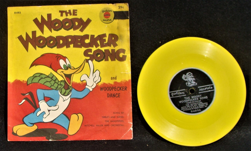 VTG 1951 Woody Woodpecker Song & Dance Sleeve & Yellow Golden Record R493