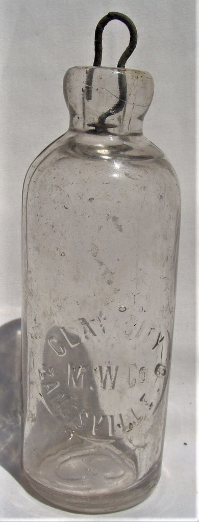 Antique Hutchinson Clay City M.W.Co. Mineral Water Bottle Zanesville Ohio Tinted
